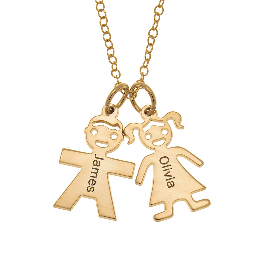 Horizontal Mother's Necklace with Kids gold