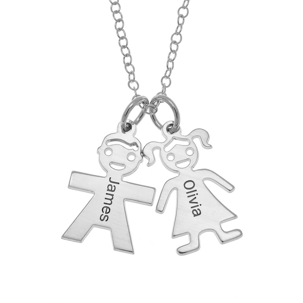 Horizontal Mother's Necklace with Kids silver