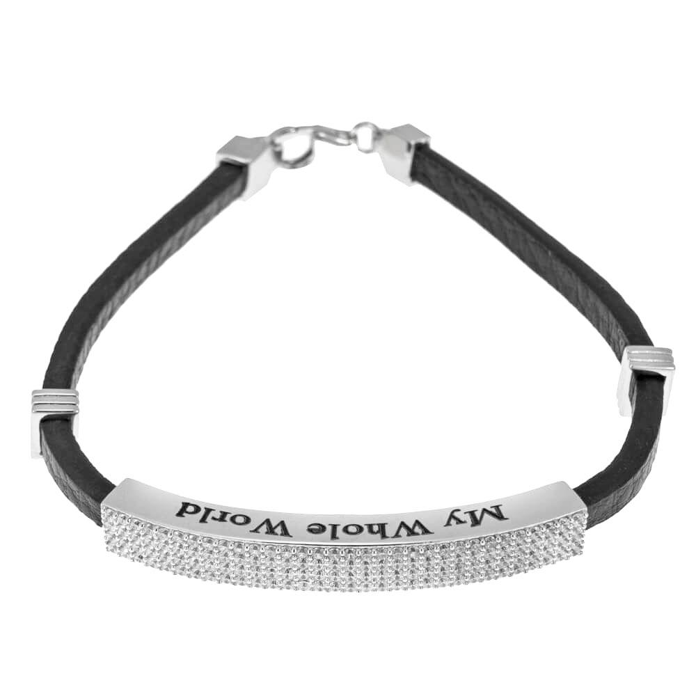 White Zircon Inlay Leather Bracelet for Men silver