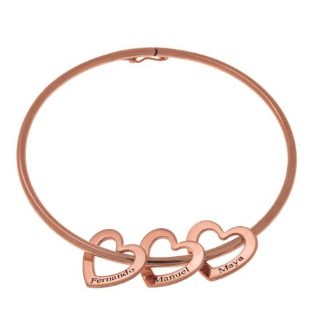 Bangle Bracelet with Heart Charms
