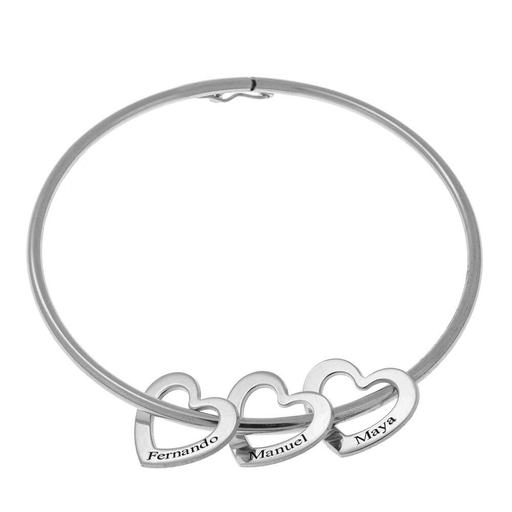 Bangle Bracelet with Heart Charms silver