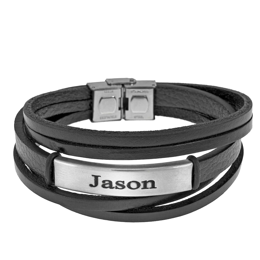 Black Leather Layers Bracelet with Engraving silver