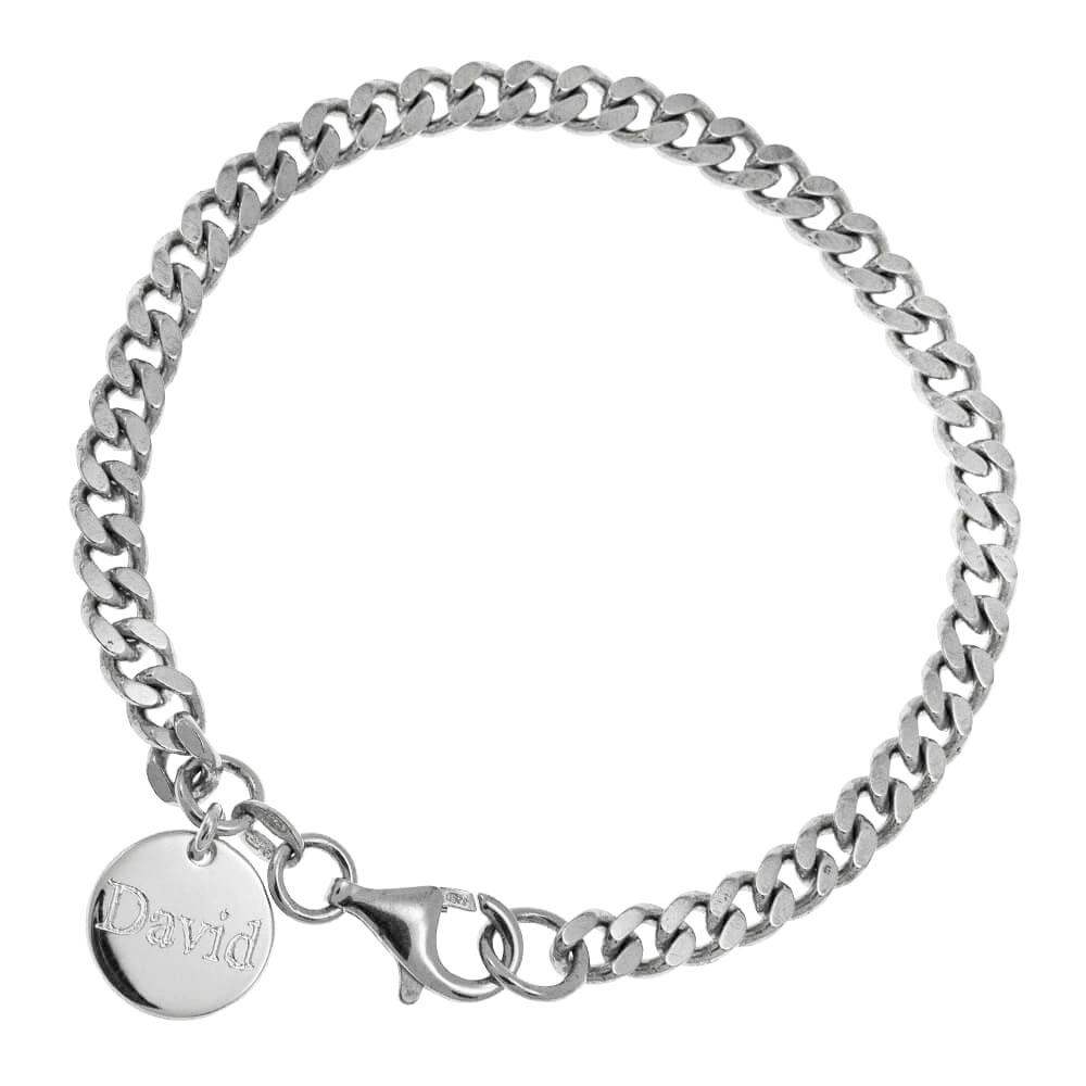 Disc Gourmette Bracelet for Men silver 1