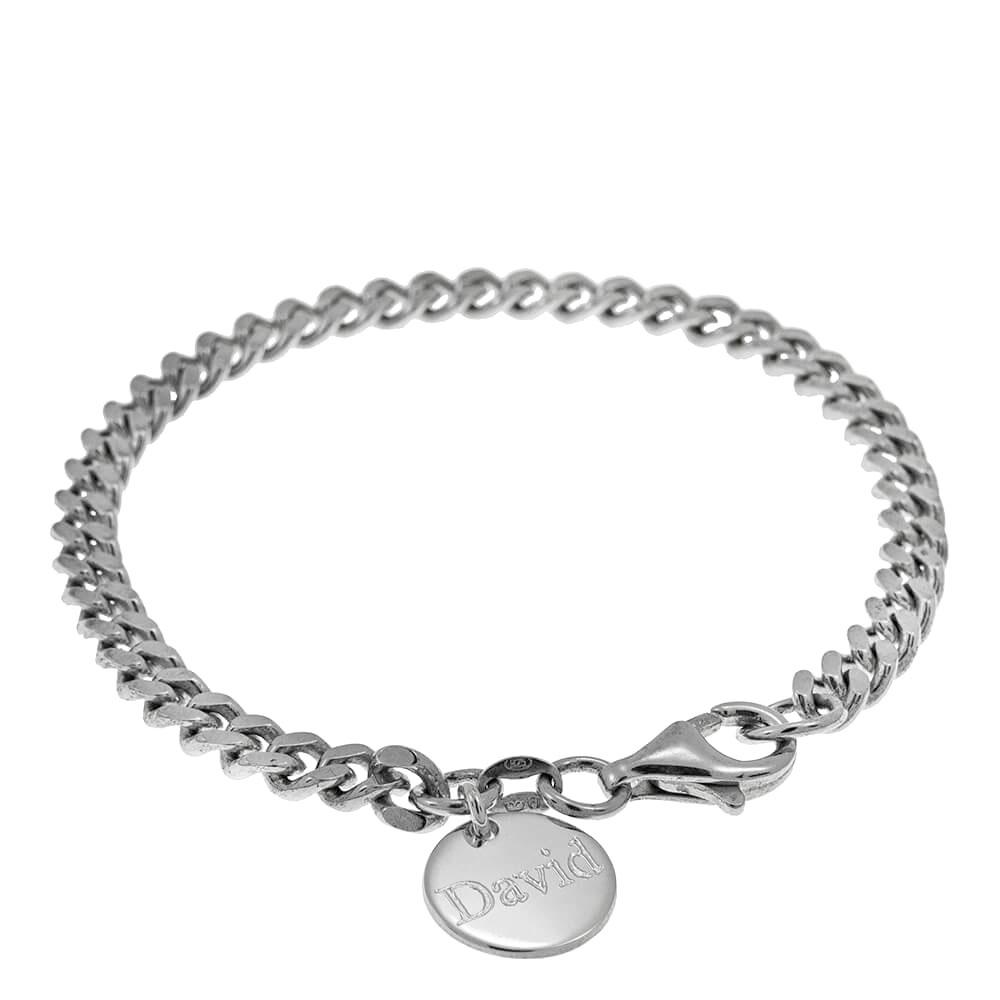 Disc Gourmette Bracelet for Men silver