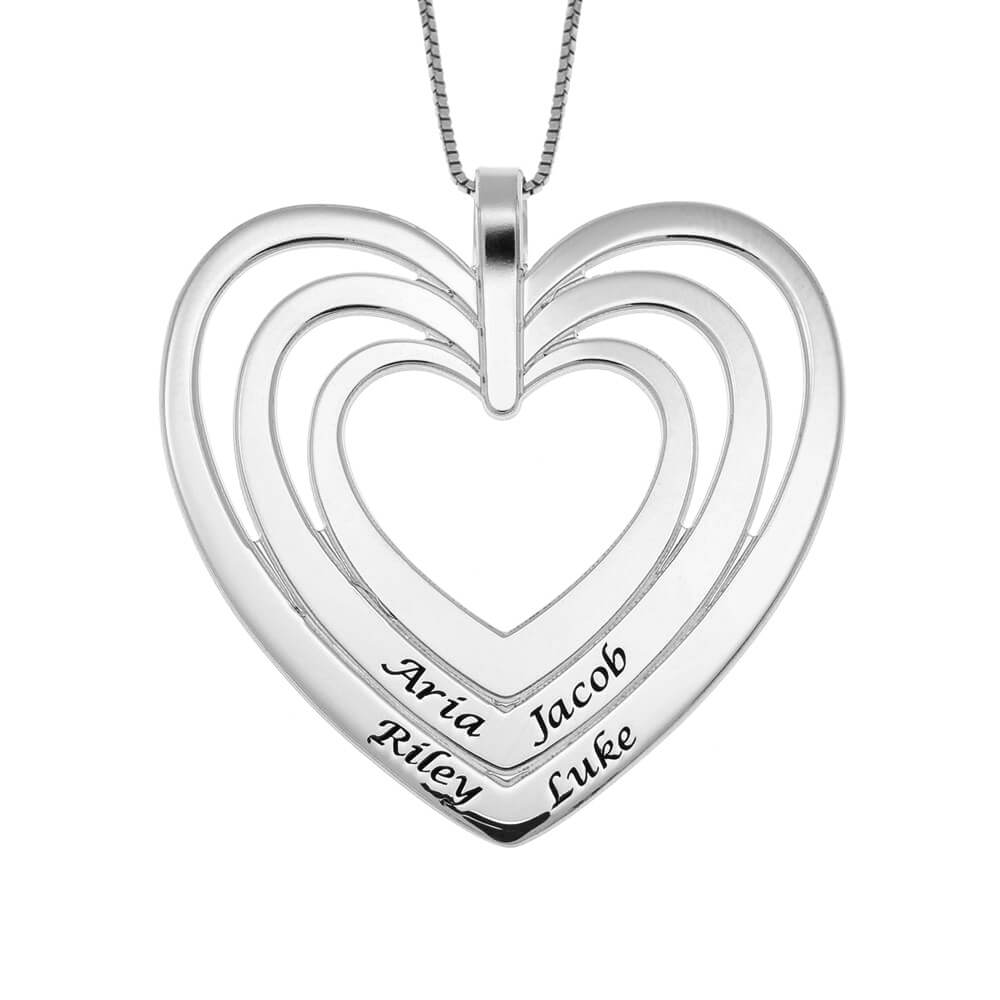 Engraved Family Heart Necklace silver