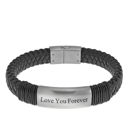 Engraved Black Leather Name Bracelet for Men