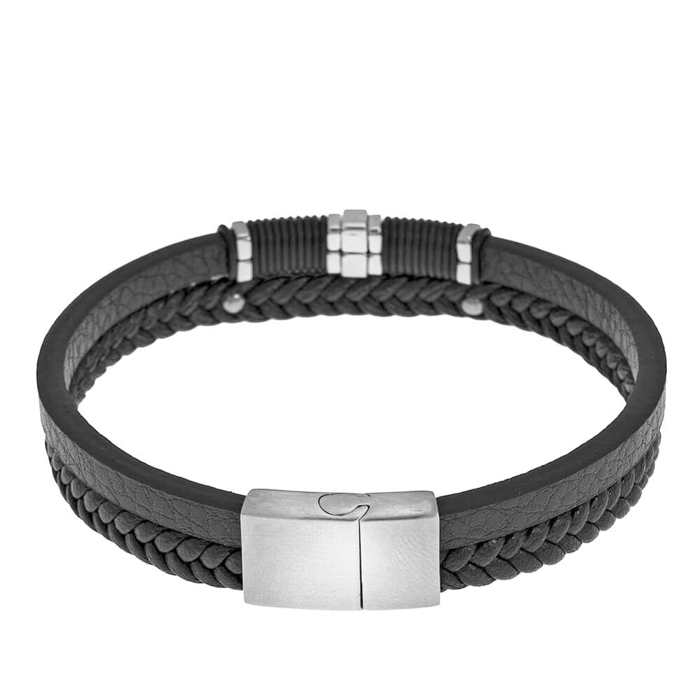 Inlay Black Leather Layers Bracelet back