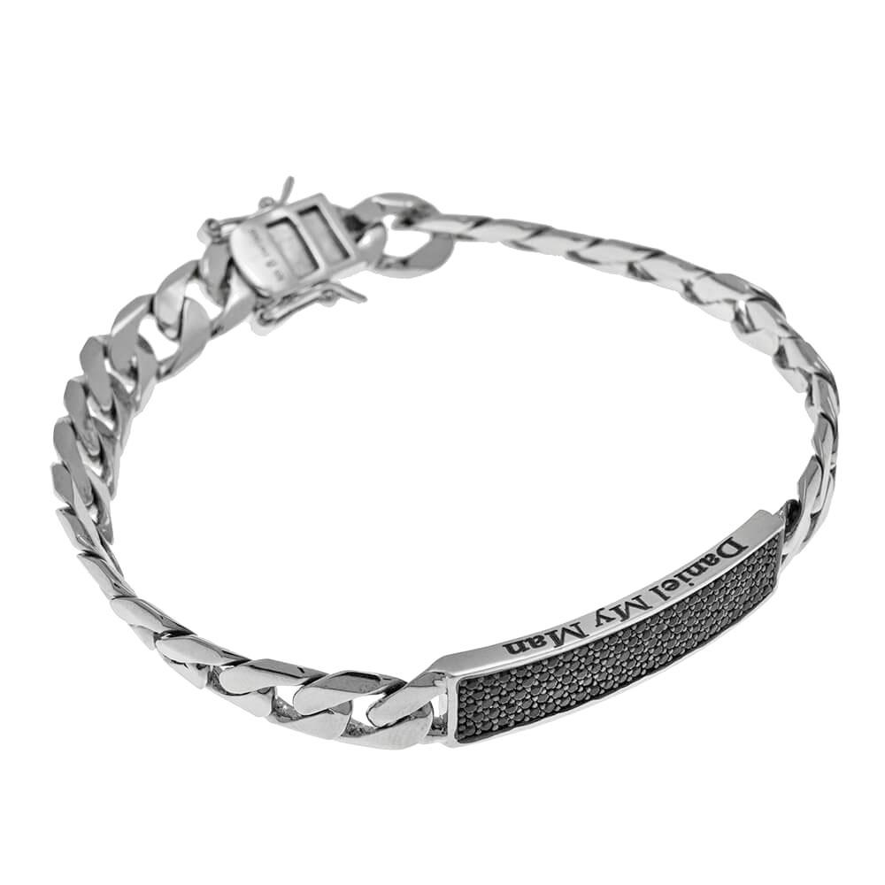 Inlay Gourmette Bracelet For Men silver