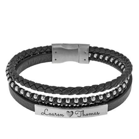 Men Braided Leather Bracelet