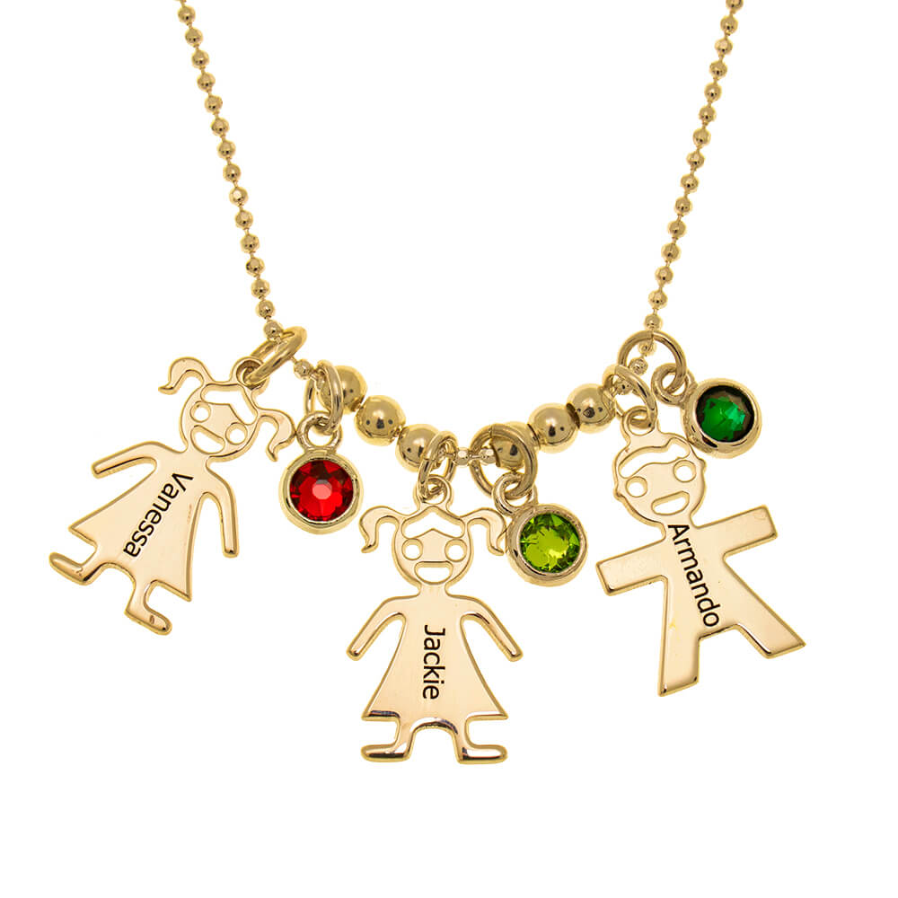 Mother's Necklace with Children Charms and Birthstones gold