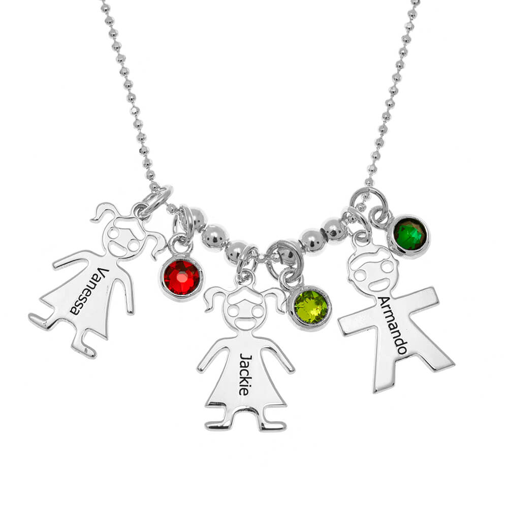 Mother's Necklace with Children Charms and Birthstones silver