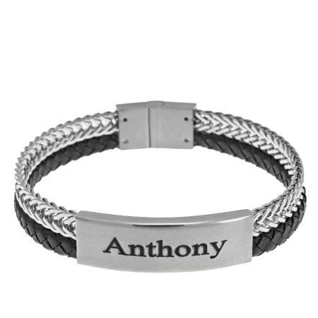 Stainless Steel Leather Men's Bracelet