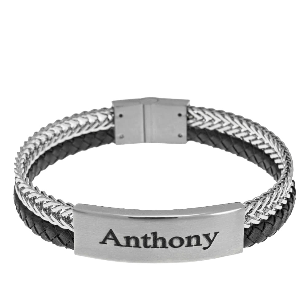 Stainless Steel Leather Men's Bracelet silver