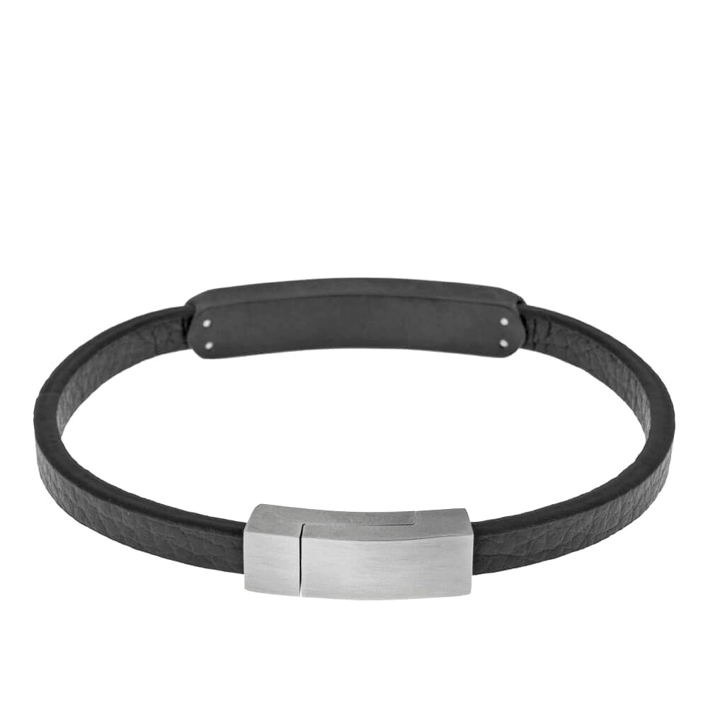 Stainless Steel Men's Bracelet with Engravable Bar silver 1