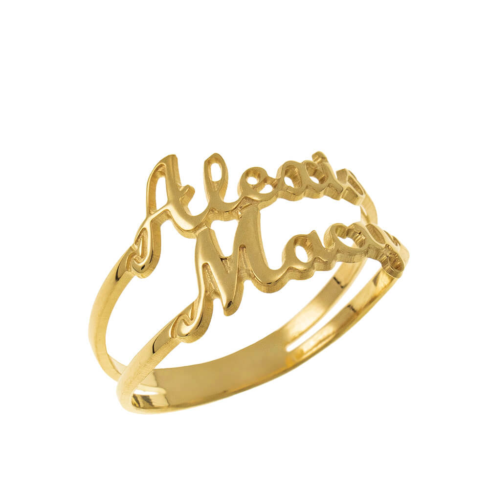 Cut Out 2 Names Ring gold