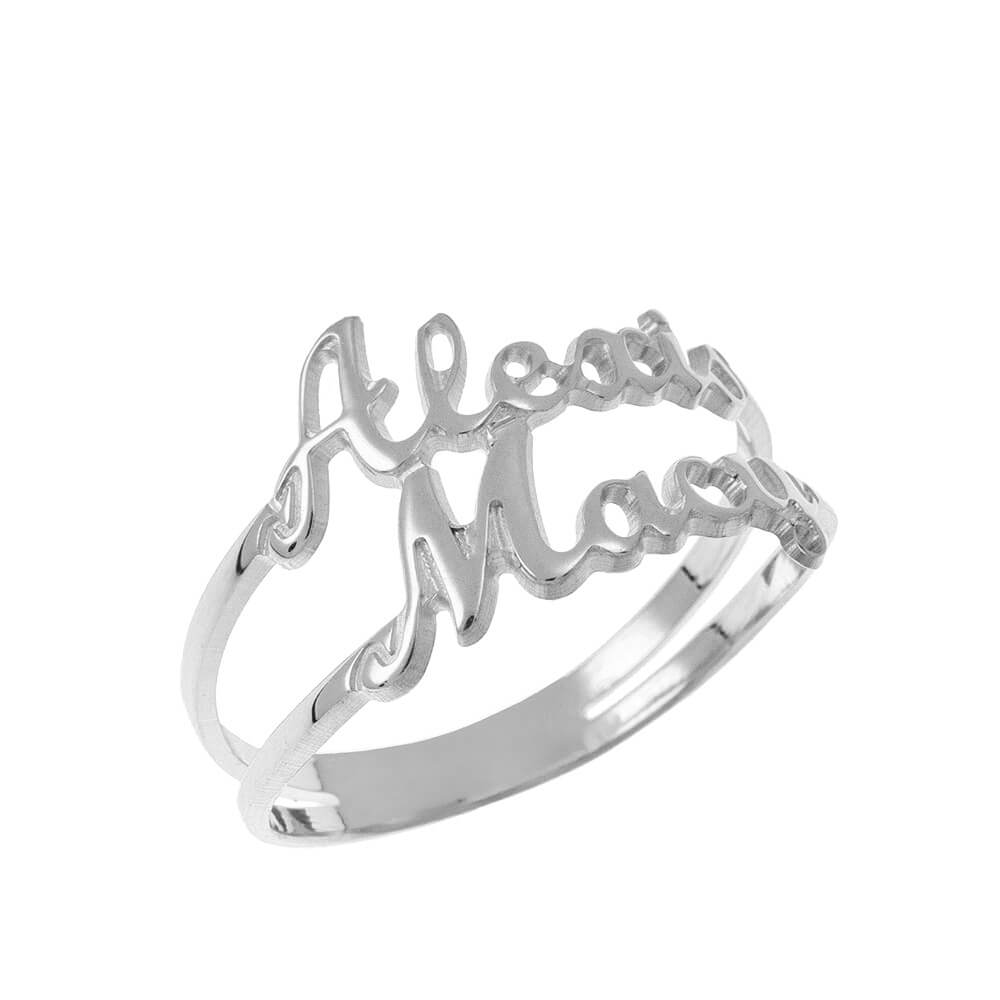 Cut Out 2 Names Ring silver