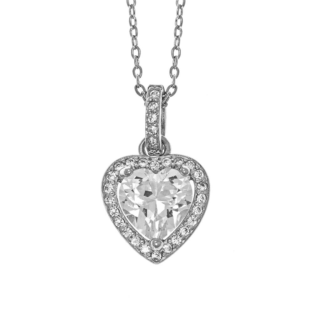 Heart Shape Pendant Necklace With Sparkling Crystal