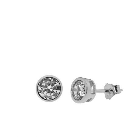 Inlay White Zircon Stud Earrings