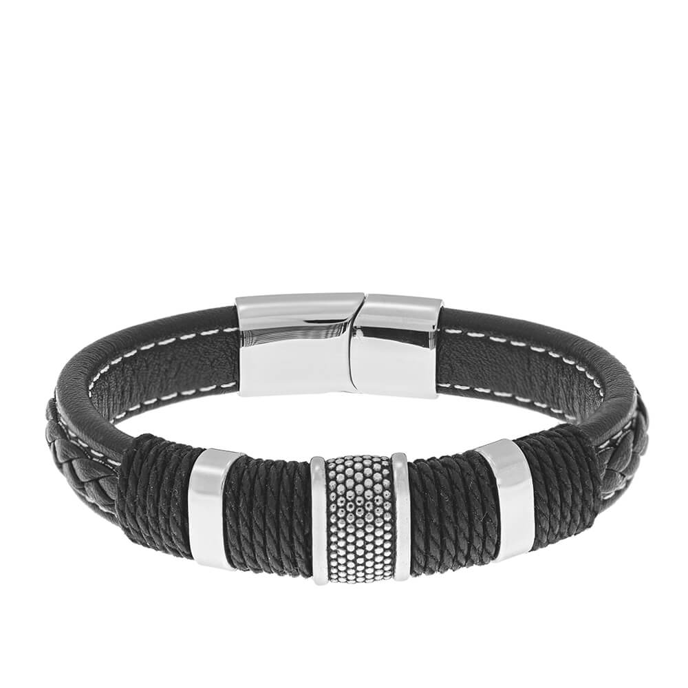 Stainless Steel & Leather Men's Bracelet with Magnetic Clasp front