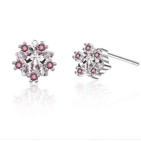 Flower Pink zircon Earrings