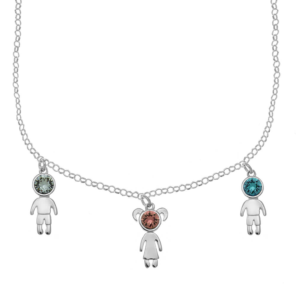 Birthstone 3 Kids Charms Necklace silver