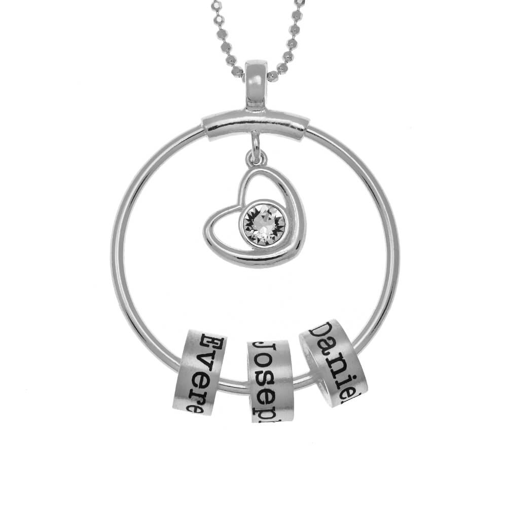 Circle Necklace With Name Beads and Heart Charm silver