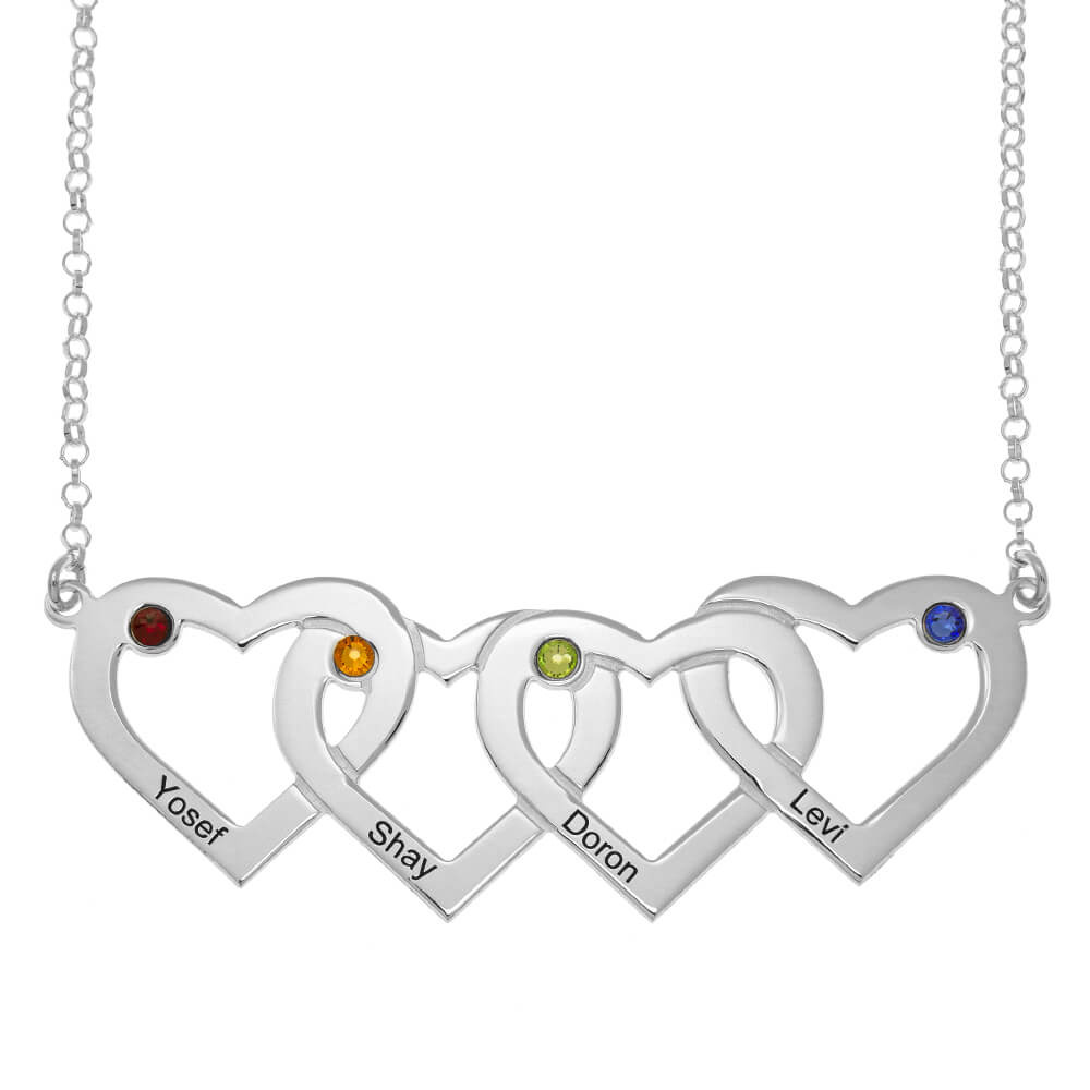 Four Intertwined Hearts and Birthstones Necklace silver