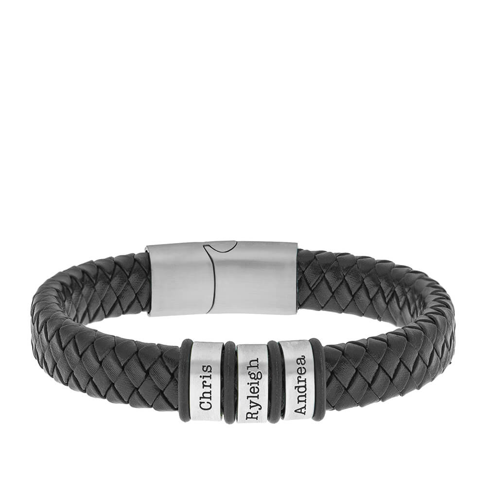 Men's Leather Bracelet With Silver Oval Beads