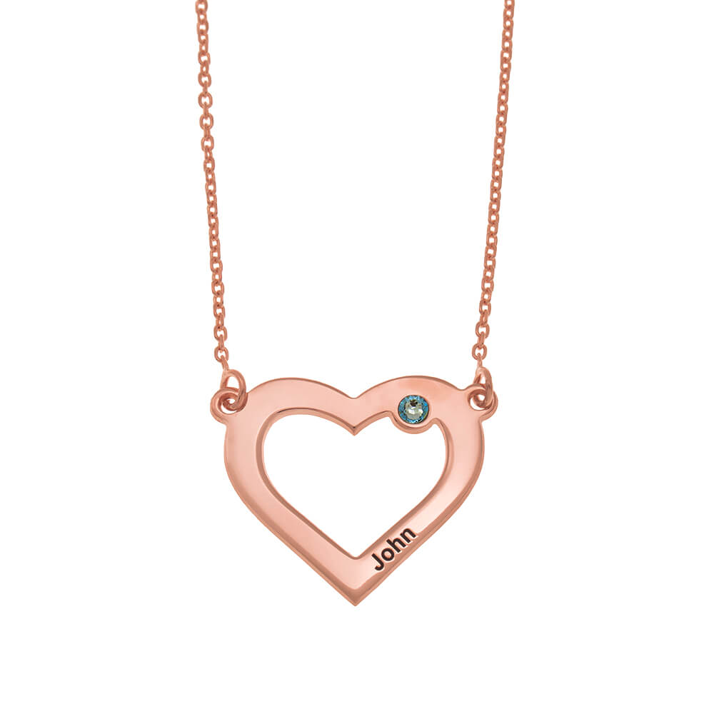 One Heart and Birthstone Necklace rose gold