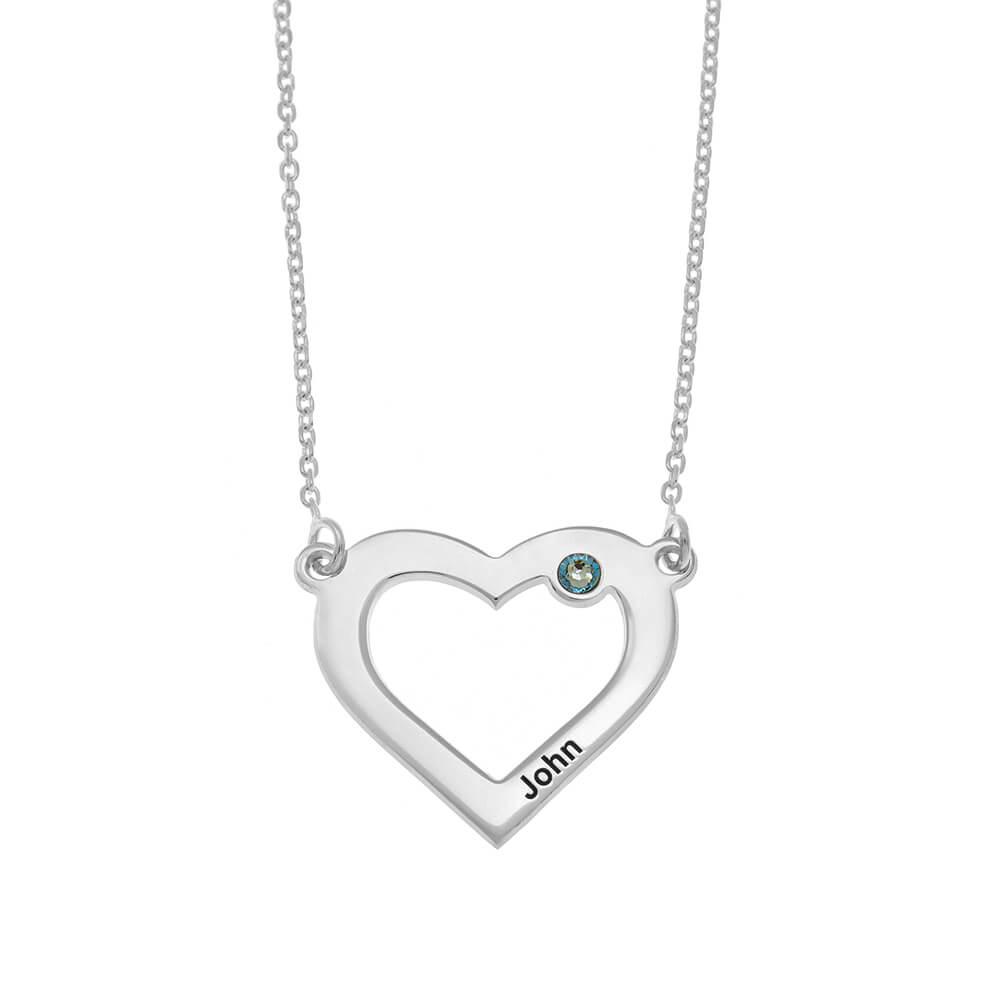 One Heart and Birthstone Necklace silver