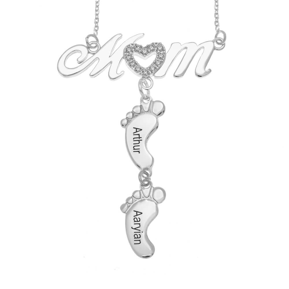 Swarovski Inlay Mom Necklace With Baby Feet silver