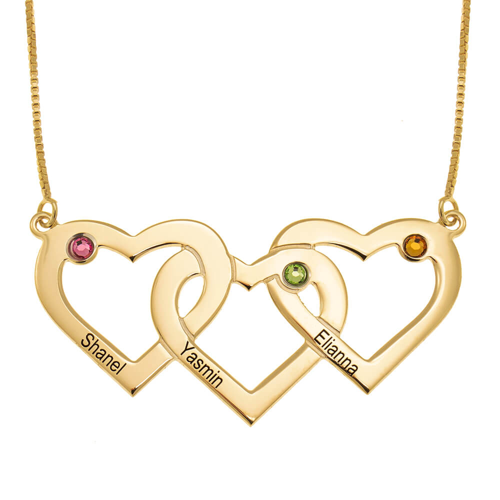 Three Intertwined Hearts and Birthstones Necklace gold