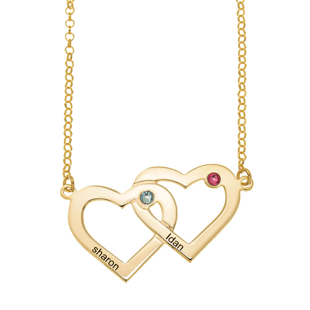 Two Intertwined Hearts and Birthstones Necklace gold
