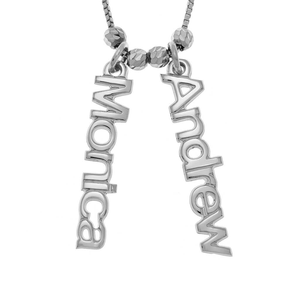 Vertical 2 Names Necklace silver
