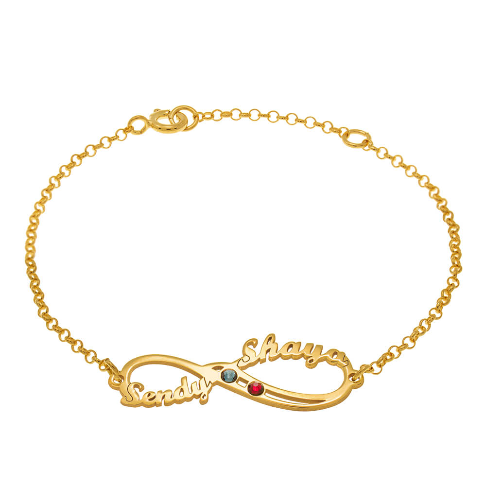 Infinity Name Bracelet with Birthstones gold
