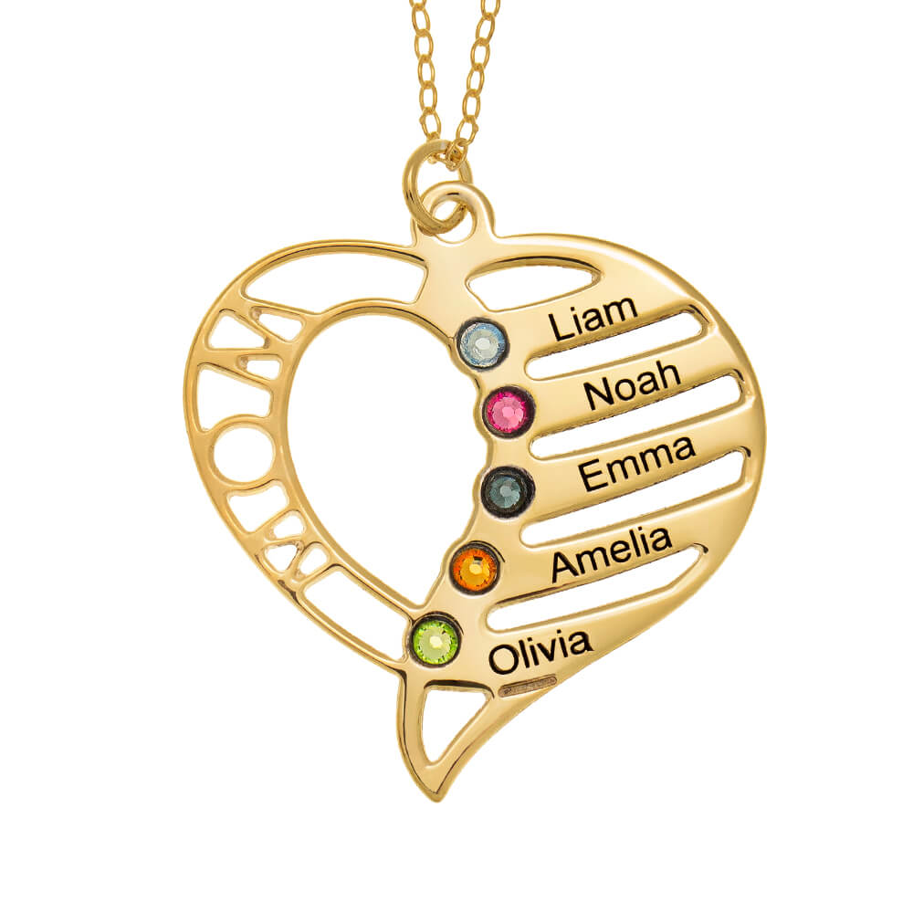 Personalized Mom Heart Necklace with Birthstones gold