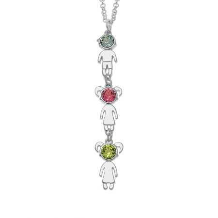 Vertical Birthstone Kids Charms Necklace