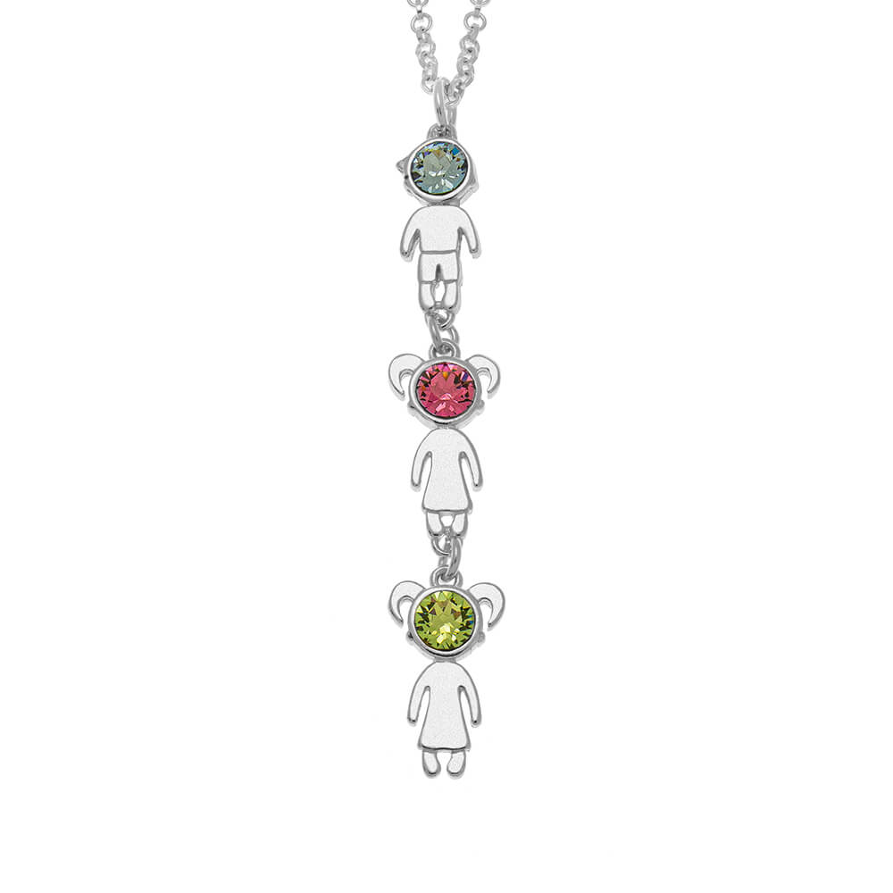 Vertical Birthstone Kids Charms Necklace silver