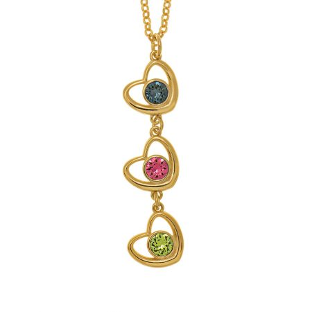 Vertical Hearts Necklace with Birthstones