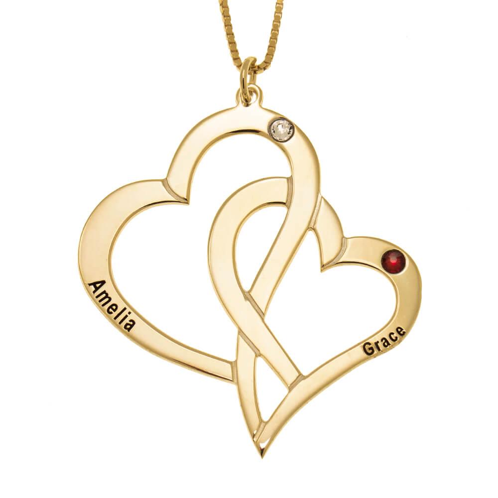 Interlocking Hearts and Birthstones Necklace gold