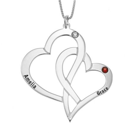 Interlocking Hearts and Birthstones Necklace