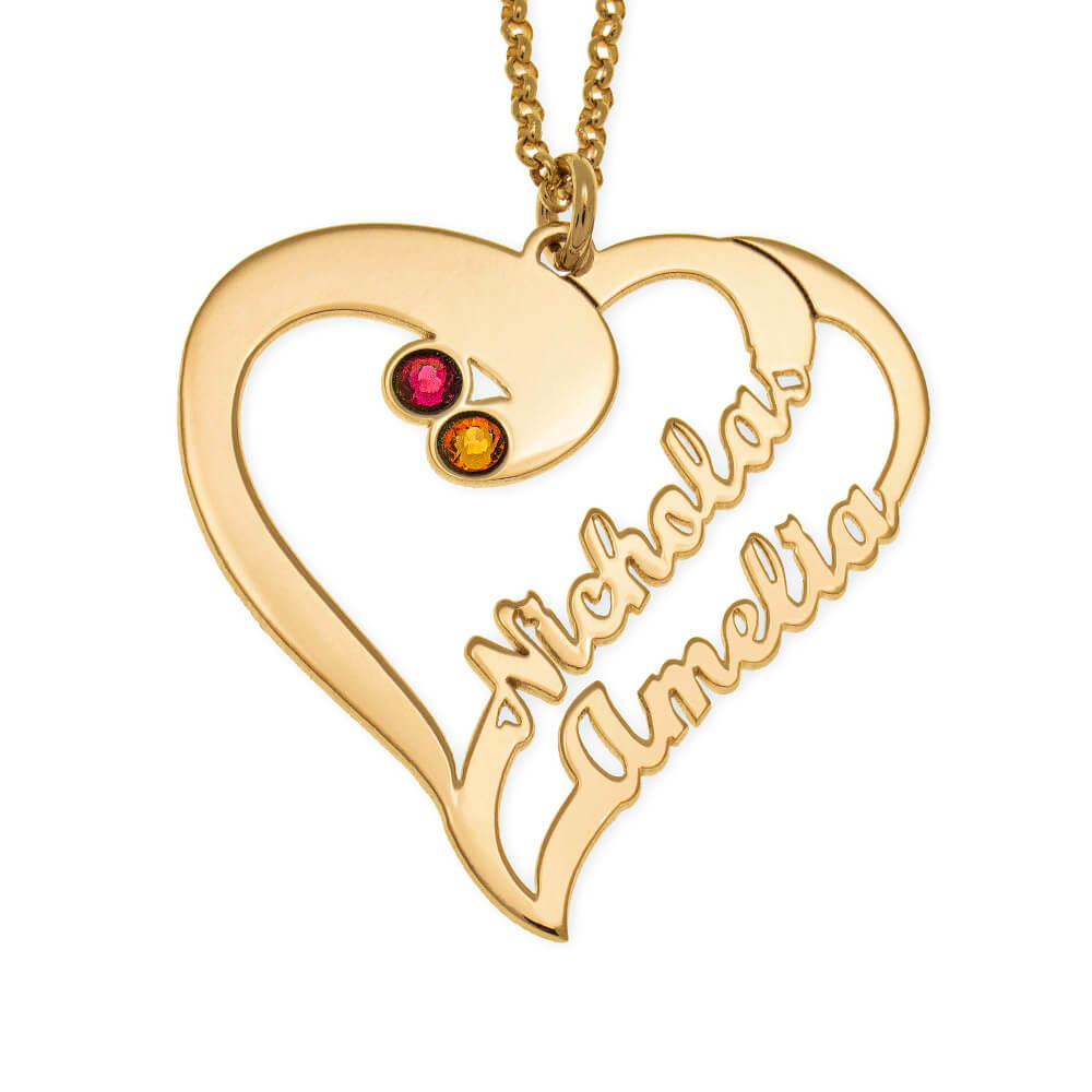 Cut Out Heart Necklace For Couples gold