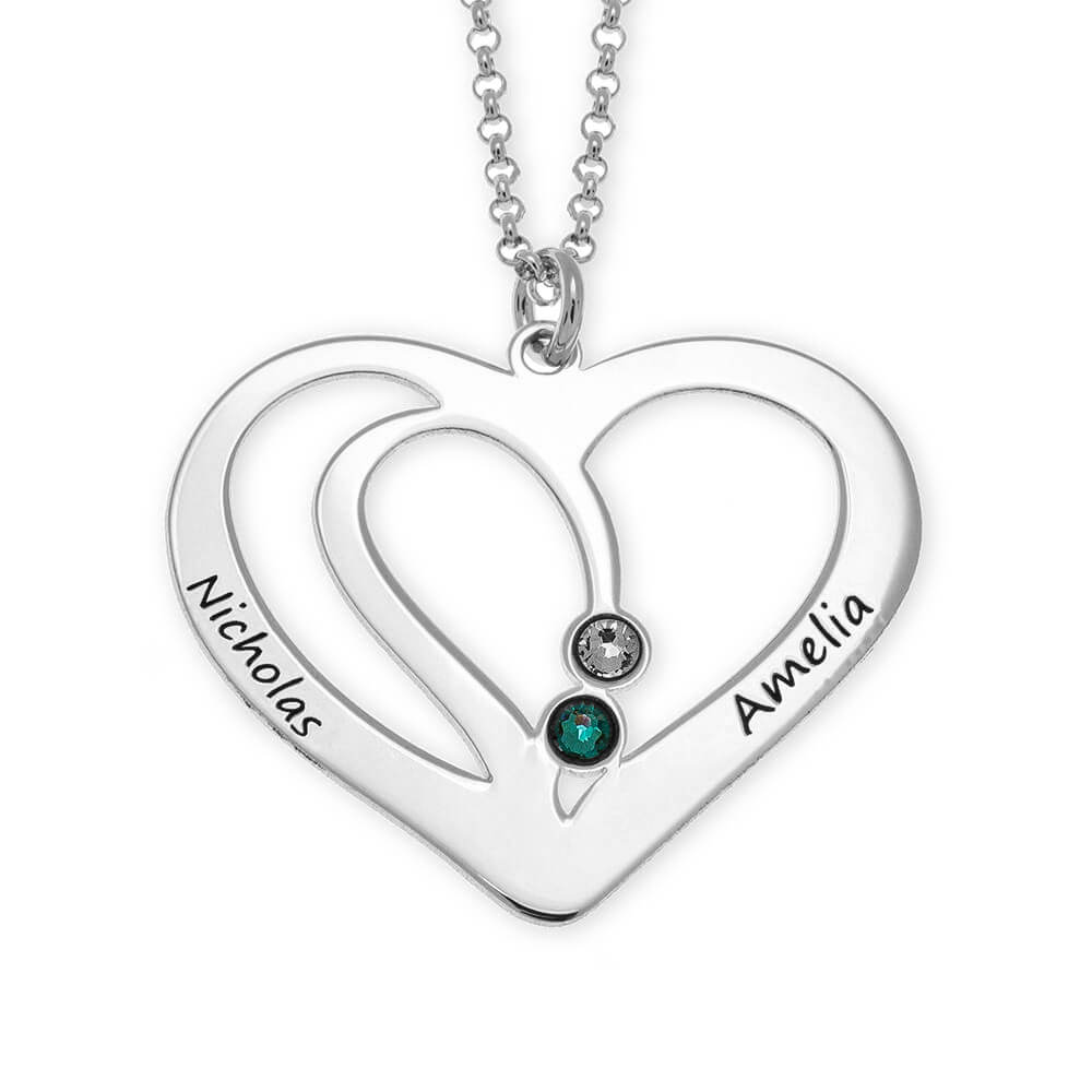 Engraved Couple Heart Necklace with Birthstones silver