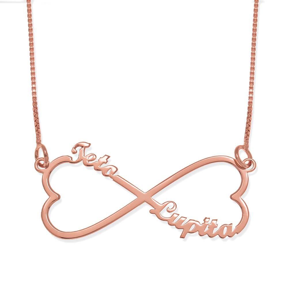 Personalised Infinity Heart Tow Names Necklace rose gold