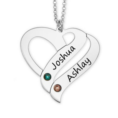 Personalized Couple Heart Necklace with Birthstones