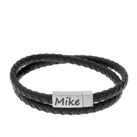 Small Engraved Bracelet for Men in Stainless Steel and Black Leather